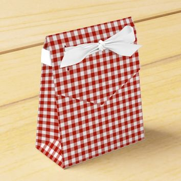 Gingham-Rustic-Orange-Favor Box, Tent Favor Box