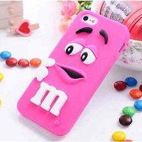 iphone 6 4.7inch Pink M&M's Candy Silicone Cell Phone Case