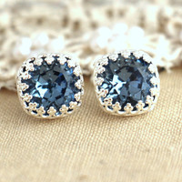 Silver Dark Blue Studs, Blue denim Crystal stud vintage earring - Silver plated  Real Silver post earrings real swarovski rhinestones .