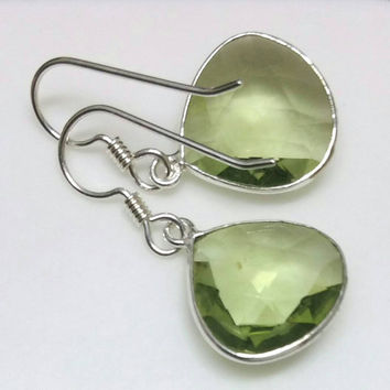Green Amethyst Earrings, Prasiolite Earrings, Sterling Silver Amethyst Earrings,  February Birthstone Earrings by Maggie McMane Designs