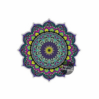 Mandala Sticker - Colorful Car Decal Vinyl Bumper Sticker Religious Symbol Yoga Car Decal Yantra Cosmos Universe Purple Blue Green Wall Art