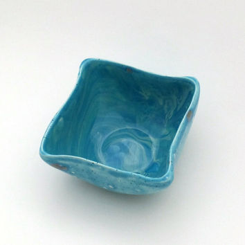 Marbled hand-glazed bowl or dish, sea themed colors with multiple blues