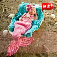 2015 Baby Girls Newborn-9M Knit Crochet Pinks Mermaid Costume Photo Prop Outfits = 1958341956