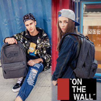 """Vans""Fashion Personality printing large capacity backpack bag leisure travel boom Gray(7 style)"