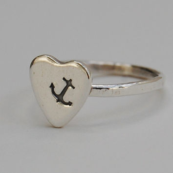 Sterling Silver Anchor Heart Ring - Nautical - Navy - Hand Stamped - Hand Forged - Custom Made