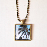 Charm Print Necklace - unique hipster boho chic jewelry square florida landscape palm tree original photography print