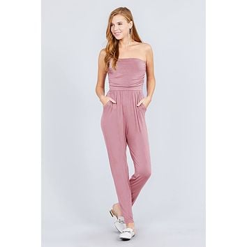 Women's Strapless Tube Top W/front Slanted And Pocket Rayon Spandex Jumpsuit ()