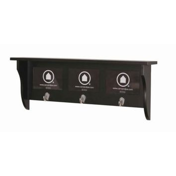 Country - Wall shelf, Coat rack with hooks, Picture Frame with 3 Fields, black coffee