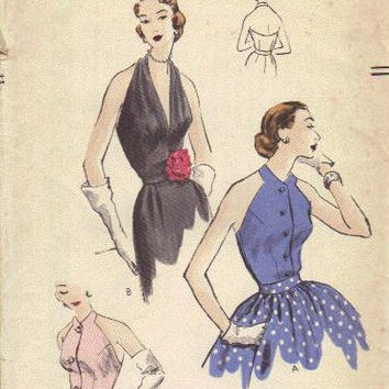 Vogue 7454 Sewing Pattern Vintage 1950s Halter Bodice Bare Shoulder Top Collarband Shirt Sexy Blouse Deep V Neck Bust 32