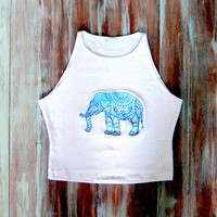 Mandala Elephant Crop Top-Yoga Crop Top-American Apparel