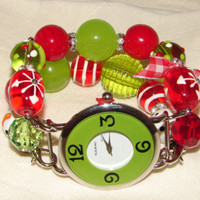 Shabby Chic Christmas Red and Green Chunky Beaded Watch Band and Green Face - Interchangeable