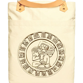 Unisex Mayan Icon Print 100% Cotton Canvas Leather Straps Laptop Backpack WAS_34