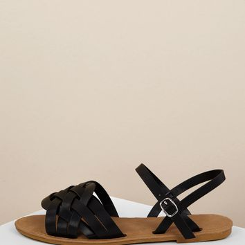 Huarache Style Open Toe Ankle Strap Sandals