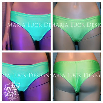 SALE Neon green sexy cheeky booty shorts panties for go go pole dance showgirl burlesque by Maria Luck