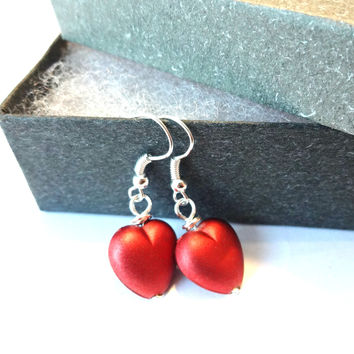 I Love You Red Heart Valentines Day Earrings