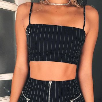 Sexy Womens Summer Self Tie Back Striped Crop Cami Top Camisole Blouse