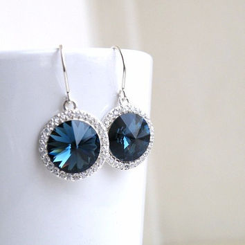 Sapphire Jewelry Wedding Jewelry Bridal Earrings Swarovski Crystal Montana Navy Blue Rivoli Silver CZ Halo Bella E16H-M Bridesmaid Jewelry