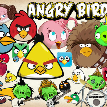 44 Angry Birds Clipart PNG Digital Graphic Image Angry Clip Art Scrapbook Invitations INSTANT DOWNLOAD printable 300 dpi