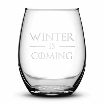 Premium Wine Glass, Game of Thrones, Winter is Coming, 15oz