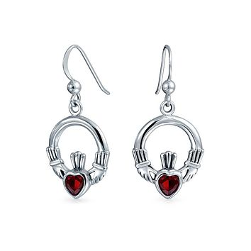 Claddagh Celtic Red Heart Dangle Earrings Ruby Glass Sterling Silver