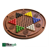 14in. Walnut Wood Carved Chinese Checkers Game Board with 60 Marbles & Burlap Bag, Walnut Custom Game Board, Wooden Board Games, Wood Games