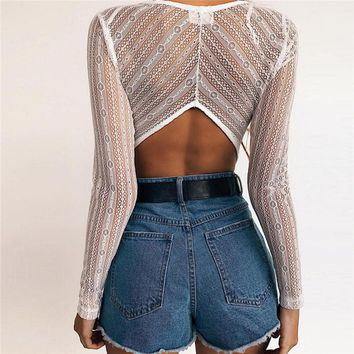 Lace Patchwork Deep V Neck Sexy Bodysuit Women Long Sleeve Backless Skinny Rompers Casual Bodycon Short Jumpsuit
