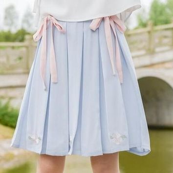 Summer Mori Girl Skirt Cute Flower Embroidery Pink Ribbon Pleated Skirts