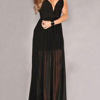 Black Plunge Sheer Tulle Panel Lace Backless Prom Dress