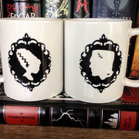 His & Hers Couples Mug Set | Coffee Cup Set | Newlywed Gift - Frankenstein's Monster and his Bride |
