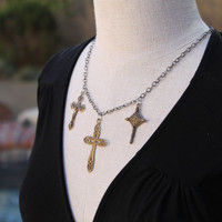 Trinity Cross Pendant Charm Necklace, Mixed Metal Bronze and Sterling Silver