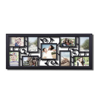 "Adeco Decorative Black Plastic Filigree Wall Hanging Collage Picture Photo Frame, 9 Openings, 5x5"", 4x6"""