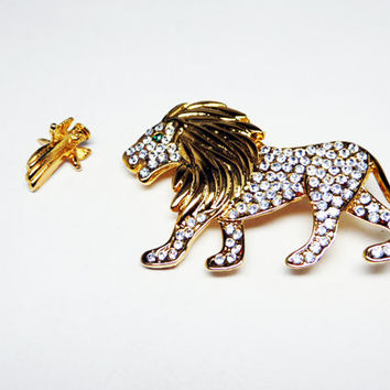 The Lion & The Lamb Brooch Set - Gold Tone Tack Pin - Clear Rhinestone Lion - Vintage Pre 1998 Figural Jewelry