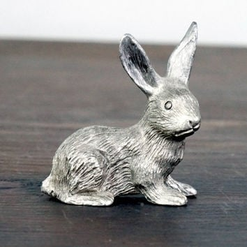 Spoontique Vintage Rabbit Figurine Pewter Miniature