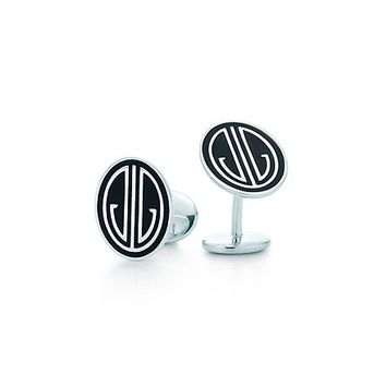 Tiffany & Co. -  Ziegfeld Collection cuff links in sterling silver with black enamel finish.