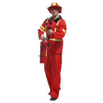 Adult Fireman Costume Halloween Cosplay Role Play Party Firefighter Fire Chief Suit Men Fancy Dress