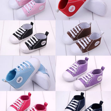 Candy Colors 1 Pair Baby Boys Girls Soft Sole Crib Canvas Shoes to 0-18Months = 5987690817