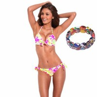 Floral Pattern Soft Pad Bikini Set Swimwear Push-up Swimming Suit for Women + 3$ Free Gift