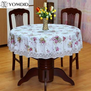 Flower Style Round Table Cloth Pastoral PVC Plastic Tablecloth Oilproof Decorative Elegant Waterproof Fabric Table Cover