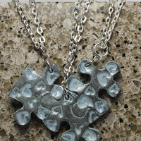Puzzle Necklace Bridesmaid Best Friend Jewlery Set of 3 Necklaces Hearts Light Silver blue