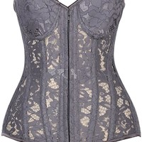 Daisy Corsets Top Drawer Gunmetal Underwire Sheer Lace Steel Boned Corset