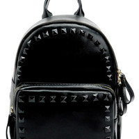 Black On Black Faux Leather Studded Backpack