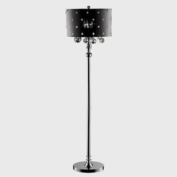 Elegant and modern black and silver floor lamp with black and silver crystals
