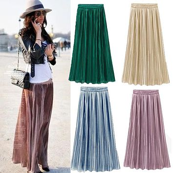 Women Lady Clothing Double Layer Pleated Retro Long Maxi Skirts Elastic High Waist Skirt NEW