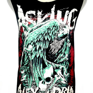 Asking Alexandria Skull Eagle Metal Rock Band Music Metal T Shirt Tank Top Singlet Vest Size M