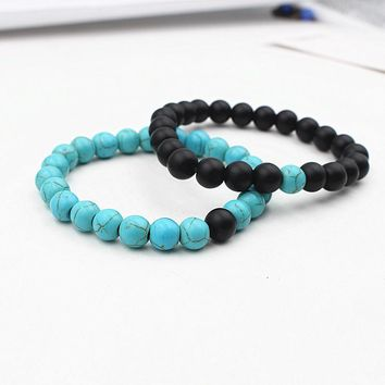 Turquoise and Natural Black Distance Bracelets