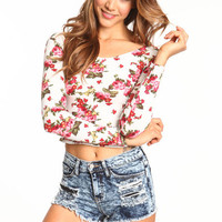 FLORAL SCOOPBACK CROP TOP
