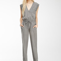 Brushed Surplice Utility Jumpsuit
