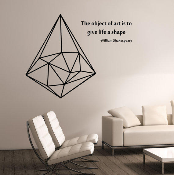 Geometric triangle with quote vinyl wall from for Wall stickers for bedrooms interior design