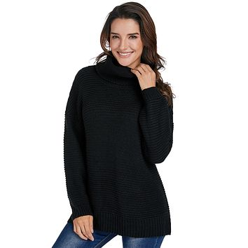 Black Cozy Long Sleeves Turtleneck Sweater