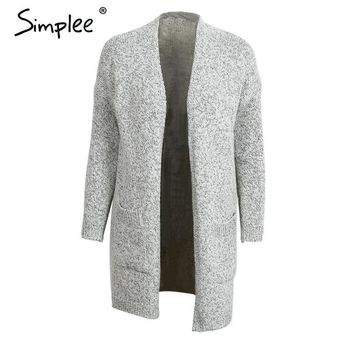Simplee Winter knitted long cardigan women Casual grey loose pocket long sleeve sweater cardigan Female tricot black jumper